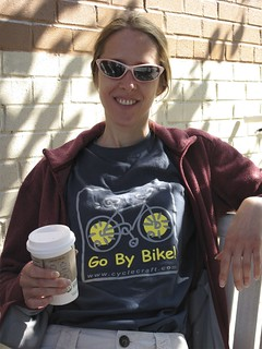 Cathy Sporting Her Go By Bike Shirt
