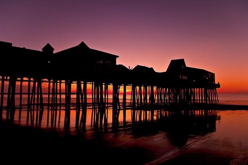 ocean beach sunrise dawn coast pier tide maine atlantic coastal tidal oldorchardbeach bej golddragon mywinners abigfave theunforgettablepictures ubej flickrunitedaward
