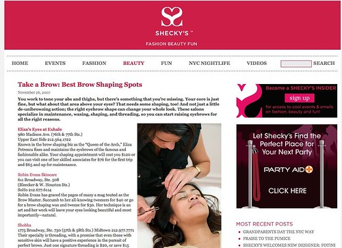 Best Brow Shaping Spots - Shecky's Beauty Hot Lists