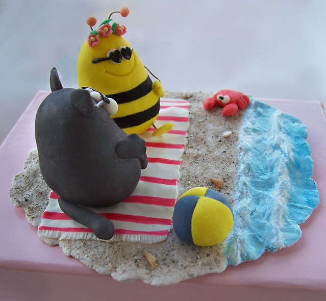 Cute original custom beach wedding cake topper handmade of clay Black fat