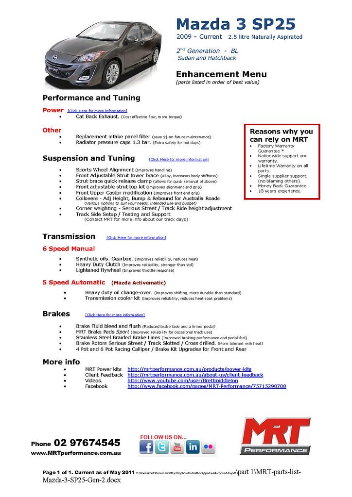MRT-parts-list-Mazda-3-SP25-Gen-2 | MRT Performance | Flickr
