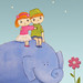 Small Us Big Elephant - Art Print by HoneyBooArt