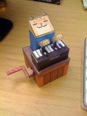 Almost done! (Keyboard cat papercraft!)