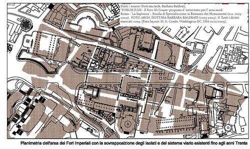 ROMA ARCHEOLOGIA: Arch. B. Baldrati, I Fori Imperiali - Planimetria dell' area dei Fori Imperiali (1809/1933 & 2004). & Bibliografia: R. Meneghini 2009 & L. Ungaro 2007.
