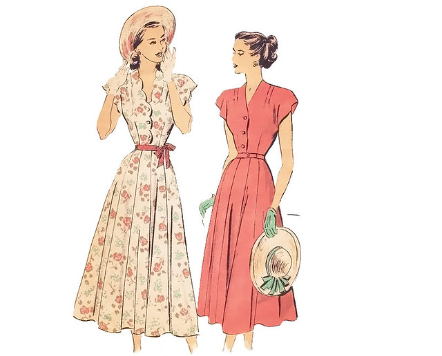 Vintage 1940s scalloped shirtwaist dress sewing pattern