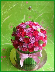 Torta Mazzo di Rose / Bouquet of Roses Cake (top view)