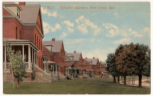 Old Vintage Postcard - Officers' Quarters, Fort Crook, Nebraska