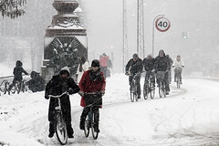 Traffic in Snowstorm - Cycling in Winter in Copenhagen