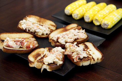 lobster rolls and corn