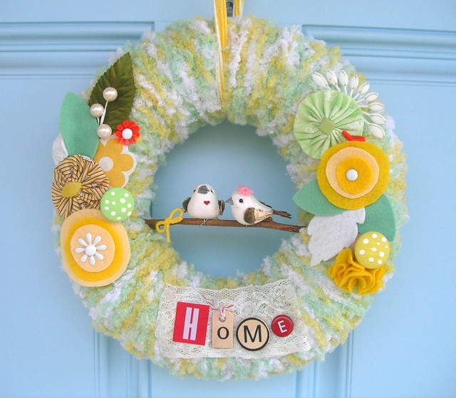 Lemon Lime Yarn Wreath