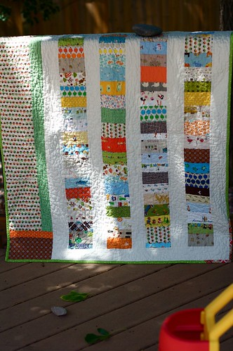 mushrooms and coins baby quilt