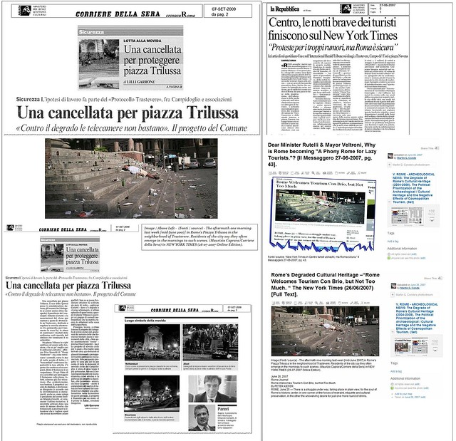 ROME - The Neglect of Rome's Cultural Heritage by the Ministry of Culture (2008-11), and the City of Rome (2005 - 11): The Piazza Trilussa - The New York Times, The Corriere Della Sera, The Il Messaggero, The La Repubblica (09/2009).
