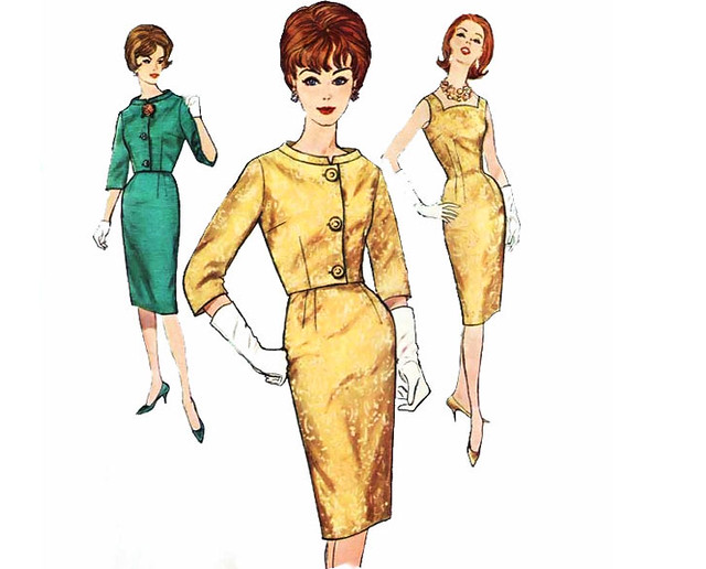 Vintage 1960's Mad Men style wiggle cocktail dress and jacket sewing pattern