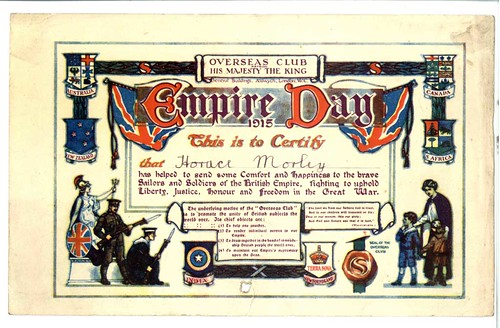 Overseas Club - Empire Day certificate