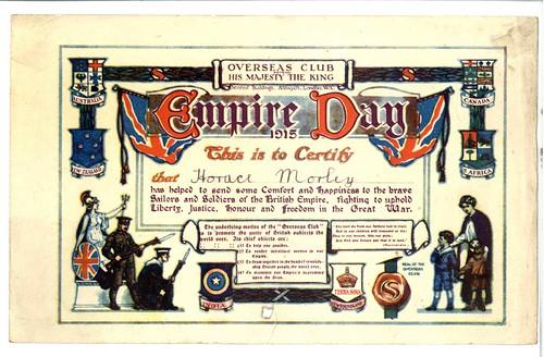 Overseas Club - Empire Day certificate