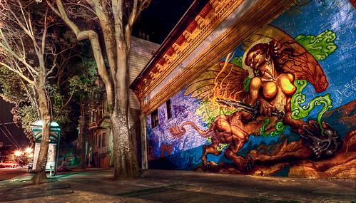 HDR of Mural at Night, Haight Ashbury, San Francisco