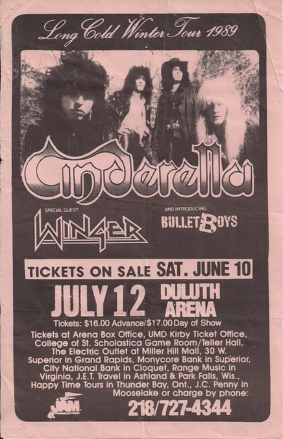 07/12/89 Cinderella/Winger/BulletBoys @ Duluth, MN (Flyer)