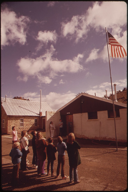 DOCUMERICA: Rock School, Built in 1897, Still Serves the Children of the Piceance Creek Area. the One Room School House Takes Them from the First Grade through the Eighth. the Building Also Functions as a Community Center, 10/1973 by David Hiser.