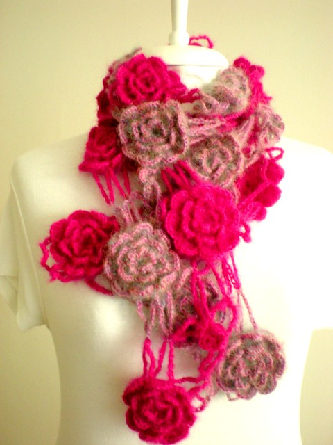 crochet flower scarf  Flickr  Photo Sharing Crochet Flower Scarves