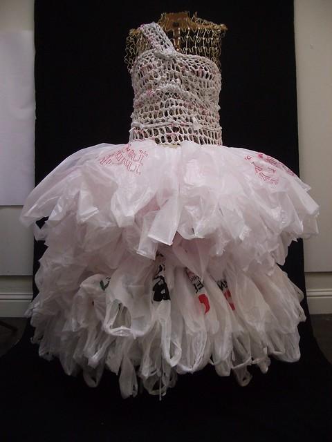 Art work in progress bagalina white trash recycled plastic bag dress