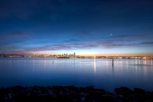 seattle blue water night sunrise nikon downtown wide wideangle hdr 10mm d90 3xp seacrestpark 1024mmf3545g pwpartlycloudy