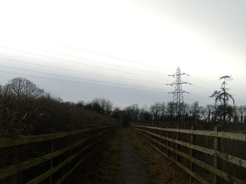 Fenced in footpath meets power-line