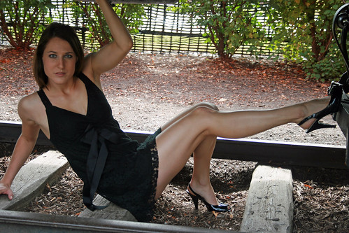 Sexy Stunning Brunette Model Black Dress and High Heels, Great Legs by PhotoAmateur1