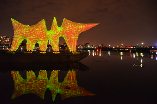 MIT+150: FAST (Festival of Art + Science + Technology): FAST LIGHT — Liquid Archive, with Light Bridge in background