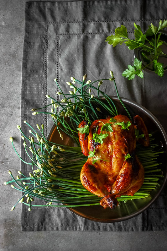 Roast Chicken on a bed of Chive blossoms
