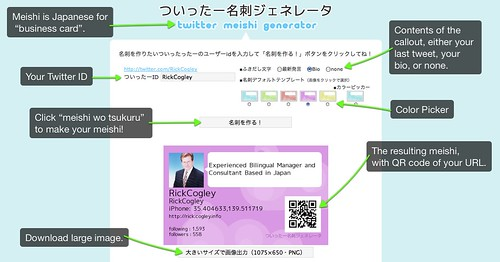 Screenshot showing result of Faa Automatic Twitter Meishi Business Card Generator.