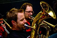 bassist(0.0), trumpet(0.0), trombone(0.0), guitarist(0.0), classical music(1.0), musician(1.0), tuba(1.0), musical ensemble(1.0), musical instrument(1.0), music(1.0), jazz(1.0), entertainment(1.0), brass instrument(1.0), performance(1.0),