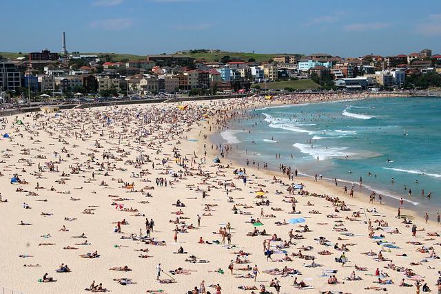 Crowded Bondi Beach in Sydney.