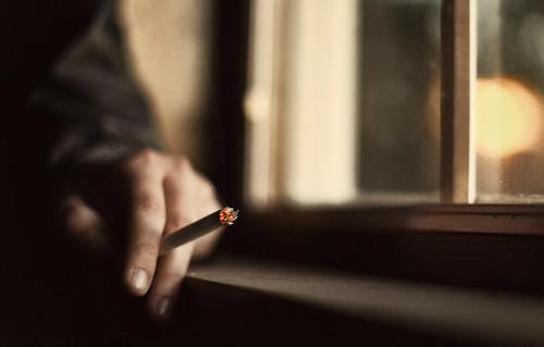 smokes.