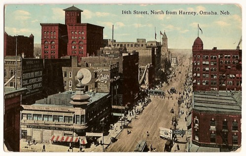 Old Vintage Postcard of 16th street, from Harney, Omaha, Nebraska - NIce old town view!