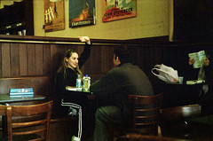 New York, December 2004-Couple in Book Store Cafe