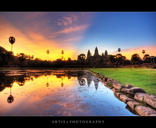 reflection building classic water stone architecture photoshop sunrise canon temple dawn ancient sandstone bravo cambodia khmer state cs2 tripod wideangle angkorwat structure explore 1020mm siemreap frontpage hdr artie angkorvat 12thcentury 3xp sigmalens photomatix tonemapping tonemap 400d rebelxti suryavaman