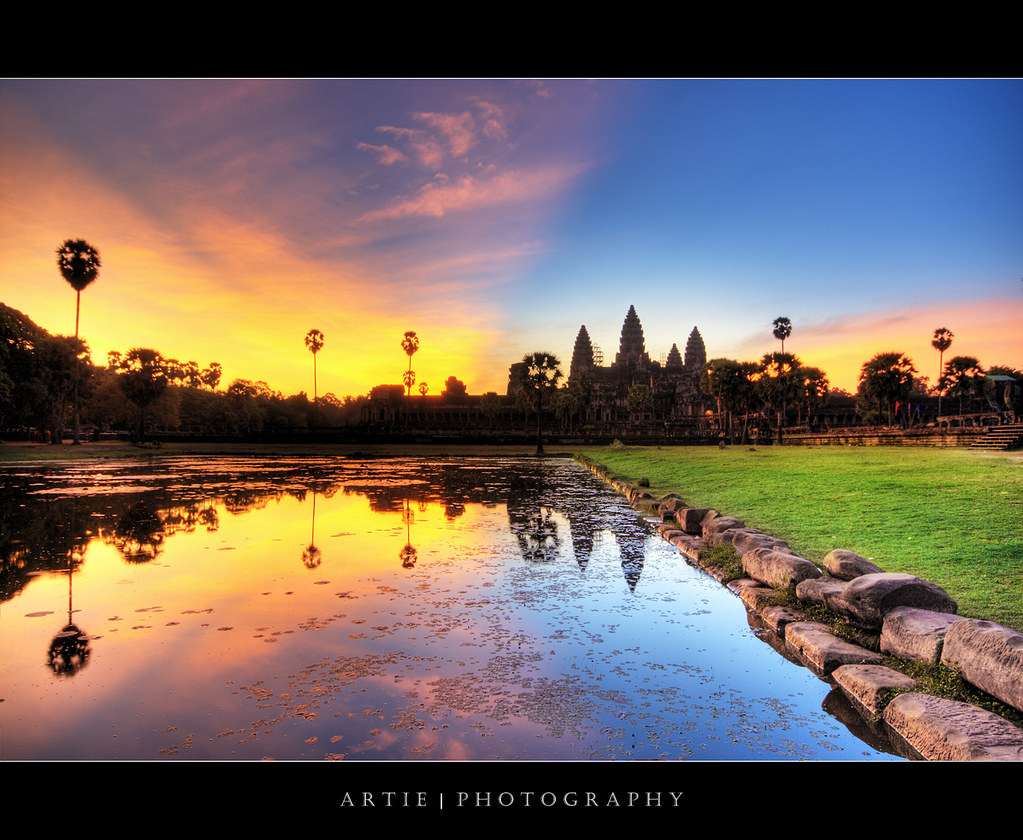 On Black The Colourful Cambodia Sunrise Angkor Wat