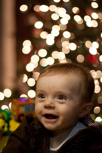 baby's first christmas bokeh