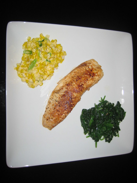 Parmesan Crusted Tilapia with Summer Creamed Corn and Lemon Sautéed ...