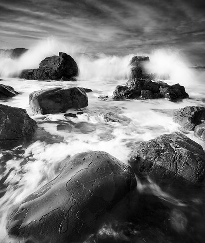 ocean sea newzealand sky blackandwhite bw blur beach water clouds sunrise rocks waves break crash wellington seatoun blackdiamond constrast blackwhitephotos blackwhiteaward focusbokeh