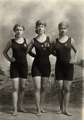 Three young women in swimsuits, ca. 1920