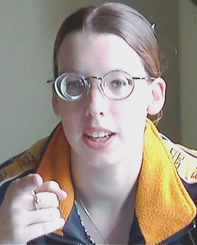 dc9f33bbf0 by GwG Fan Cute girl wearing glasses with thick lenses!