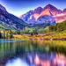 Maroon Bells at Sunrise with Lake Reflections