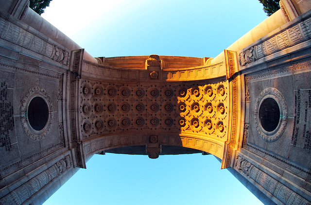 Fisheye looking directly up underneath the arch.