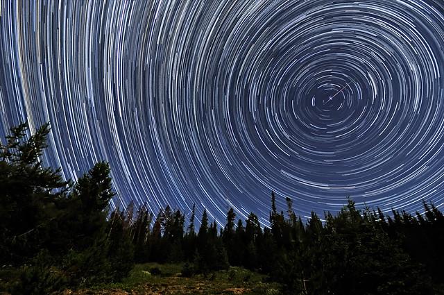 Perseid Meteors Penetrating Circumpolar Star Trails