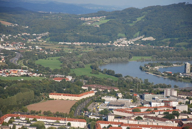view of Linz from the mountain (can see the concentric circles this way)