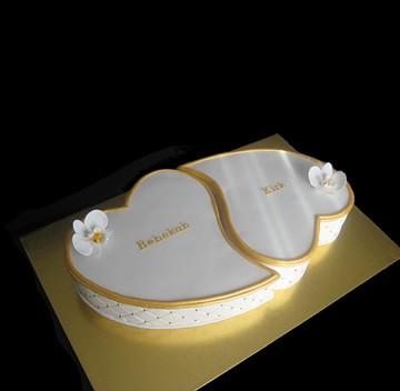 Gold & White Heart Engagement Cake