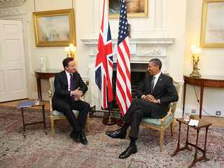The PM meets President Obama in Downing Street's White Room