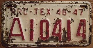 TEXAS 1946-47 ---RAILROAD COMMISSION plate