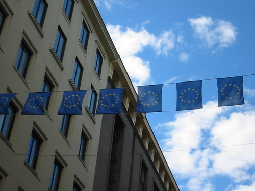 European Union flags in Finland